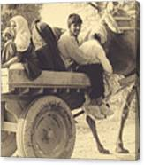 Indian People In Camel Cart- Sepia Canvas Print