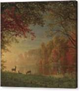 Indian Sunset Deer By A Lake Canvas Print