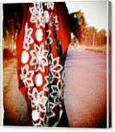 Indian Woman In Red- Vignette Canvas Print