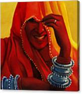 Indian Woman In Veil Canvas Print