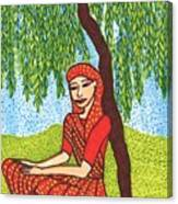 Indian Woman With Weeping Willow Canvas Print