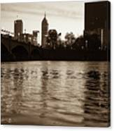 Indianapolis On The Water - Sepia Skyline Canvas Print