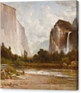Indians Fishing In Yosemite Canvas Print