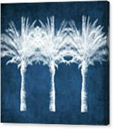 Indigo And White Palm Trees- Art by Linda Woods Canvas Print