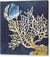 Indigo Ocean - Tan Fan Coral N Angelfish Canvas Print