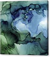 Ink Abstract Painting Blues Greens Canvas Print