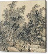 Ink Painting Landscape Bamboo Forest Rivers Canvas Print