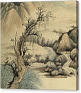 Ink Painting Landscape River Canvas Print
