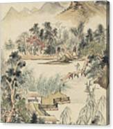 Ink Painting Mountain Wooden Bridge Canvas Print