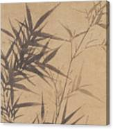 Ink Painting Stone Bamboo Canvas Print