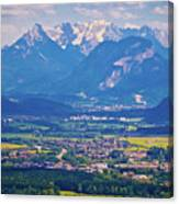 Inn River Valley And Kaiser Mountains View Canvas Print
