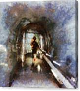 Inside An Ice Tunnel In Switzerland Canvas Print