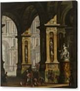 Inside Of The Palace With Soldiers Canvas Print