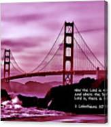 Inspirational - Nightfall At The Golden Gate Canvas Print