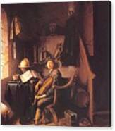 Interior With A Young Violinist 1637 Canvas Print