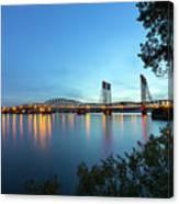 Interstate Bridge Over Columbia River At Dusk Canvas Print