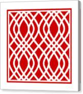 Intertwine Latticework With Border In Red Canvas Print
