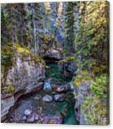 Into The Heart Of Maligne Canyon Canvas Print