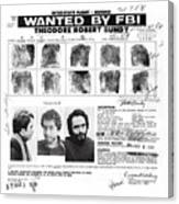 Investigator's Copy - Ted Bundy Wanted Document  1978 Canvas Print