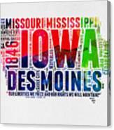 Iowa Watercolor Word Cloud  Canvas Print