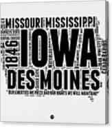 Iowa Word Cloud 2 Canvas Print
