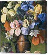 Iris In Brass Pitcher Canvas Print