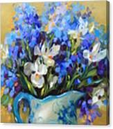 Irises And Blue Glass Canvas Print