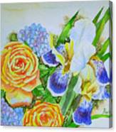 Irises And Rores. Canvas Print