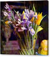 Irises In A Glass Canvas Print