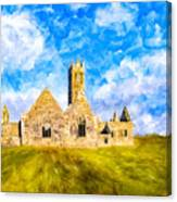 Irish Monastic Ruins Of Ross Errilly Friary Canvas Print
