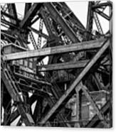 Iron Bridge Close Up In Black And White Canvas Print