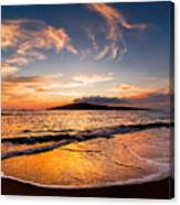 Island Gold - An Amazingly Golden Sunset On The Beach In Hawaii Canvas Print