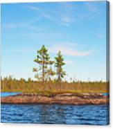 Island In The Form Of A Smooth Rock With Several Pines Canvas Print