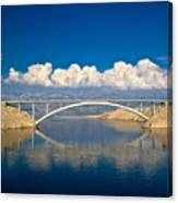 Island Of Pag Bridge And Velebit Mountain Canvas Print