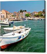 Island Of Prvic Turquoise Harbor And Waterfront View In Sepurine Canvas Print