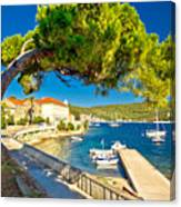 Island Of Vis Seafront Walkway View Canvas Print