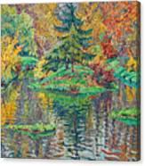 Island On The Park Pond Canvas Print