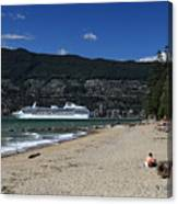 Island Princess Cruise Ship From Third Beach Stanley Park Vancouver B.c  Canada Canvas Print