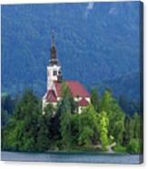 Island With Church On Bled Lake, Slovenia Canvas Print