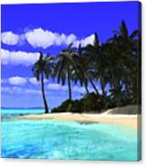 Island With Palm Trees Canvas Print