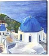 Isle Of Santorini Thiara  In Greece Canvas Print