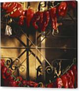 Israel Red Peppers Drying In The Sun Canvas Print