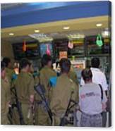 Israeli Soldiers Stop At A Kosher Mcdonald's Canvas Print