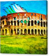Italian Aerobatics Team Over The Colosseum Canvas Print