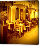 Italian Cafe In Golden Sepia Canvas Print