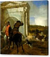 Italian Landscape With Horsemen By A Spring Canvas Print