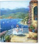 Italian Lunch On The Terrace Canvas Print