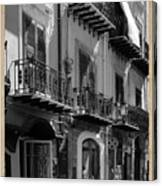 Italian Street In Black And White Canvas Print