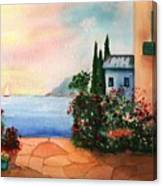 Italian Sunset Villa By The Sea Canvas Print