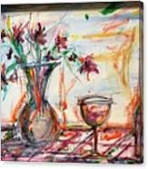 Italian Wine And Flower Vase On Table Canvas Print